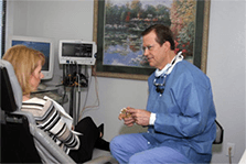 Dr. Glover with Patient